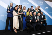 Winners of Outstanding Performance by an Ensemble in a Comedy Series for 'The Marvelous Mrs. Maisel' pose in the press room during the 26th Annual Screen Actors Guild Awards at The Shrine Auditorium on January 19, 2020 in Los Angeles, California.