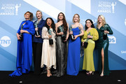 (L-R) Caroline Aaron, Jane Lynch, Stephanie Hsu, Marin Hinkle, Rachel Brosnahan, Alex Borstein, and Matilda Szydagis, winners of Outstanding Performance by an Ensemble in a Comedy Series for 'The Marvelous Mrs. Maisel', pose in the press room during the 26th Annual Screen Actors Guild Awards at The Shrine Auditorium on January 19, 2020 in Los Angeles, California.