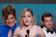Rachel Brosnahan (C), Caroline Aaron, and Joel Johnstone accept Outstanding Performance by an Ensemble in a Comedy Series for 'The Marvelous Mrs. Maisel' onstage during the 26th Annual Screen Actors Guild Awards at The Shrine Auditorium on January 19, 2020 in Los Angeles, California.