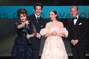 "The Crown"" cast Helena Bonham Carter (L), Josh O'Connor, Erin Doherty, and Sam Phillips accept the award for Outstanding Performance by an Ensemble in a Drama Series for ""The Crown"" speaks onstage during the 26th Annual Screen Actors Guild Awards at The Shrine Auditorium on January 19, 2020 in Los Angeles, California."