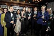 L-R) Alex Borstein, Kevin Pollak, Stephanie Hsu, Marin Hinkle, Joel Johnstone, Michael Zegen, Jane Lynch, and Matilda Szydagis, Winners of Outstanding Performance by an Ensemble in a Comedy Series for 'The Marvelous Mrs. Maisel' pose in the trophy room during the attends the 26th Annual Screen ActorsGuild Awards at The Shrine Auditorium on January 19, 2020 in Los Angeles, California. 721453