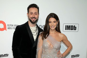 (L-R) Paul Khoury and Ashley Greene attend the 28th Annual Elton John AIDS Foundation Academy Awards Viewing Party sponsored by IMDb, Neuro Drinks and Walmart on February 09, 2020 in West Hollywood, California.