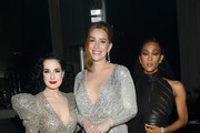 (L-R) Dita Von Teese, Our Lady J, and Mj Rodriguez attend the 28th Annual Elton John AIDS Foundation Academy Awards Viewing Party sponsored by IMDb, Neuro Drinks and Walmart on February 09, 2020 in West Hollywood, California.