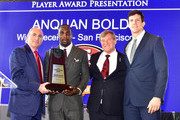 (L-R) Entrepreneur Cosmo DeNicola, professional football player Anquan Boldin, sports agent Leigh Steinberg, and football player Steven Scheu pose onstage during the 29th Annual Leigh Steinberg Super Bowl Party on February 6, 2016 in San Francisco, California.