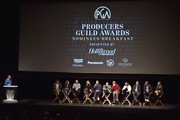 Producers Gary Luchesi, Peter Spears, Emma Thomas, Sean McKittrick, Margot Robbie, Mark Gordon, Evelyn O'Neill, Barry Mendel, Amy Pascal, J. Miles Dale, graham Broadbent and Deborah Snyder attend the 29th Annual Producers Guild Awards Nominees Breakfast at the Saban Theater on January 20, 2018 in Los Angeles, California.