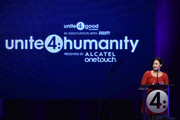 Actress Demi Lovato speaks onstage at the 2nd Annual unite4:humanity presented by ALCATEL ONETOUCH at the Beverly Hilton Hotel on February 19, 2015 in Los Angeles, California.