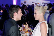 Actor Josh Hutcherson (L) and Costume designer Trish Summerville attend the 2nd Annual unite4:humanity presented by ALCATEL ONETOUCH at the Beverly Hilton Hotel on February 19, 2015 in Los Angeles, California.