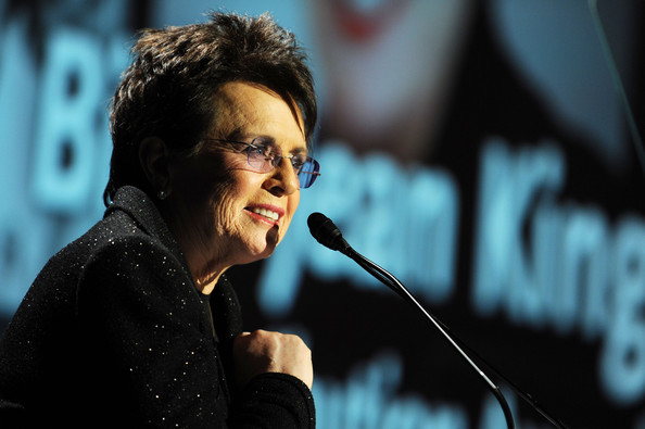 Tennis player Billie Jean King speaks onstage during the 30th Annual Salute To Women In Sports Awards at The Waldorf=Astoria on October 13, 2009 in New York City.