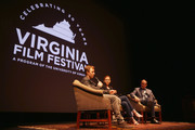 Actors Noel Fisher and Katherine Willis and moderator John Kelly speak onstage at 'The Long Road Home' screening and Q&A at Culbreth Theatre during the 30th Annual Virginia Film Festival at the University of Virginia on November 10, 2017 in Charlottesville, Virginia.