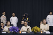 Russian Prime Minister Dmitry Medvedev (L) looks over as Vietnamese Prime Minister Nguyen Xuan Phuc (C) and US President Donald Trump (R) look on during a special gala celebration dinner for the Association of Southeast Asian Nations (ASEAN) in Manila on November 12, 2017..World leaders arrive in the Philippines' capital for two days of summits beginning on November 13.  / AFP PHOTO / JIM WATSON