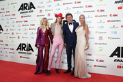 (L-R) Beck Wilson, Christian Wilkins, Richard Wilkins and Virginia Burmeister arrive for the 33rd Annual ARIA Awards 2019 at The Star on November 27, 2019 in Sydney, Australia.