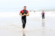 Steve Howey coming out of the water after the half-mile ocean swim during the 33rd Annual Nautica Malibu Triathlon Presented By Bank Of America on September 15, 2019 in Malibu, California.