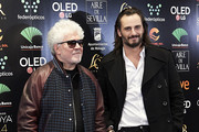 Director Pedro Almodovar (L) and actor Asier Etxeandia (R) attend the 34rd edition Goya Candidates Lecture at Academia de Cine on December 02, 2019 in Madrid, Spain.