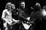 Image has been shot in black and white. Color version not available.) Jakob Dylan (center) performs at a screening of 'Echo in the Canyon' during the 34th Santa Barbara International Film Festival at the Lobero Theatre on February 8, 2019 in Santa Barbara, California.