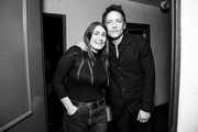 Image has been converted to black and white) Jade Castrinos and Jakob Dylan (R) attend the screening of Echo in the Canyon at the Lobero Theatre on February 08, 2019 in Santa Barbara, California.