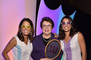 Julie Foudy, Billie Jean King, and Jessica Mendoza during the WomenÂ's Sports FoundationÂ's 35th Annual Salute to Women In Sports awards, a celebration and a fundraiser to ensure more girls and women have access to sports at Cipriani Wall Street on October 15, 2014 in New York City.