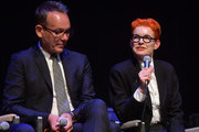 Christopher Peterson and Sandy Powell speak onstage at the Variety Artisan's Awards during the 35th Santa Barbara International Film Festival at the Lobero Theatre on January 19, 2020 in Santa Barbara, California.
