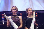 Magdalena Neuner and Laura Dahlmeier with the Pegasos Award during the German Sports Media Ball (38th Sportpresseball) at Alte Oper on November 9, 2019 in Frankfurt am Main, Germany.