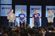 (L-R) Patrick Mullins, Jason Hernandez, Luis Robles and Sacha Kljestan speak onstage the 3rd Annual College Signing Day at the Harlem Armory on April 26, 2016 in New York City. The event, co-hosted by MTV, was  part of First Lady Michelle Obama's Reach Higher initiative which encourages young people to continue their education past High School.