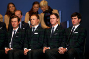 (L-R) Webb Simpson, Jordan Spieth, Jimmy Walker and Bubba Watson of the United States team look on during the Opening Ceremony ahead of the 40th Ryder Cup at Gleneagles on September 25, 2014 in Auchterarder, Scotland.