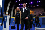 Phil Mickelson of the United States and wife Amy Mickelson leave the arena after the Opening Ceremony ahead of the 40th Ryder Cup at Gleneagles on September 25, 2014 in Auchterarder, Scotland.