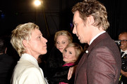 (L-R) TV personality Ellen DeGeneres, actress Monica Potter, actress Kristen Bell and actor Dax Shepard attend The 41st Annual People's Choice Awards at Nokia Theatre LA Live on January 7, 2015 in Los Angeles, California.