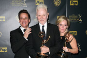 """(L-R) Actors Christian LeBlanc, Anthony Geary, winner of the award for Outstanding Lead Actor in a Drama Series for """"General Hospital""""  and Maura West, winner of the award for Outstanding Lead Actress in a Drama Series for """"General Hospital"""" pose in the press room during The 42nd Annual Daytime Emmy Awards at Warner Bros. Studios on April 26, 2015 in Burbank, California."""