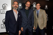 (L-R) Marco Morabito, Luca Guadagnino and Peter Spears attend the 43rd Annual Los Angeles Film Critics Association Awards on January 13, 2018 in Los Angeles, California.