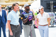 (L-R) Chief Commercial Officer of the PGA Tour Tom Wade, Long Drive Champion Maurice Allen and LPGA Golfer Lorena Ochoa attend the 44 Million Yard Challenge at the Presidents Cup Fan Experience, Oculus World Trade Center on September 27, 2017 in New York City.