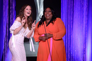 Rachel Boston and Loni Love speak onstage at the 44th Annual Gracies Awards, hosted by The Alliance for Women in Media Foundation on May 21, 2019 at the Four Seasons Beverly Wilshire Hotel in Beverly Hills, California