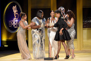 Vernee Watson, winner of Outstanding Guest Performer in a Drama Series for 'General Hospital', accepts award from Adrienne Bailon, Loni Love, Tamera Mowry and Jeannie Mai onstage during the 45th annual Daytime Emmy Awards at Pasadena Civic Auditorium on April 29, 2018 in Pasadena, California.