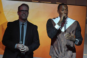 Bart Millard and Lecrae host onstage during the 45th Annual Dove Awards at Allen Arena, Lipscomb University on October 7, 2014 in Nashville, Tennessee.