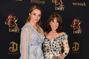 Hunter King and Kate Linder pose in tthe press room during the 46th annual Daytime Emmy Awards at Pasadena Civic Center on May 05, 2019 in Pasadena, California.