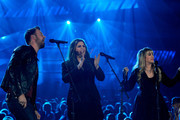 Singer Stevie Nicks (R) performs with singers (L-R) Charles Kelley and Hillary Scott of Lady Antebellum onstage during the 49th Annual Academy Of Country Music Awards at the MGM Grand Garden Arena on April 6, 2014 in Las Vegas, Nevada.