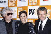 """Pedro Almodovar, Elena Anaya and Antonio Banderas attend the 49th annual New York Film Festival presentation of """"The Skin I Live In"""" at Alice Tully Hall, Lincoln Center on October 12, 2011 in New York City."""