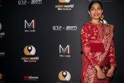 "Freida Pinto arrives at the 4th Annual Asian World Film Festival Opening Night Screening Of ""Love Sonia"" at ArcLight Culver City on October 24, 2018 in Culver City, California."
