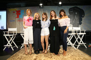 """(L-R) Alysia Reiner, Meg Ryan, Natalie Morales, Geena Davis, and Stephanie Beatriz attend the """"Geena & Freinds"""" panel at the 4th Annual Bentonville Film Festival - Day 5 on May 5, 2018 in Bentonville, Arkansas."""