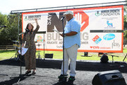 Ava Cantrell and Mark Christopher Lawrence speak onstage during the 4th Annual Say NO Bullying Festival at Griffith Park on October 05, 2019 in Los Angeles, California.