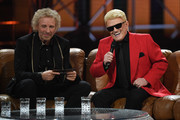 "Thomas Gottschalk and Heino are sitting on a couch  during the taping of the show ""50 Jahre Hitparade"" on April 12, 2019 in Offenburg, Germany. The show will air on ZDF on April 27, 2019."
