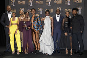 (L-R) Winston Duke, Carrie Bernans, Michael B. Jordan, Lupita Nyong'o, Chadwick Boseman, Danai Gurira, Sterling K. Brown, Letitia Wright, and Ryan Coogler -- winner of Outstanding Directing in a Motion Picture (Film) -- winners of Outstanding Motion Picture and Outstanding Ensemble Cast in a Motion Picture for 'Black Panther', at the 50th NAACP Image Awards at Dolby Theatre on March 30, 2019 in Hollywood, California.