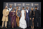 (L-R) Michael B. Jordan, Winston Duke, Lupita Nyong'o, Chadwick Boseman, Danai Gurira, Sterling K. Brown, Letitia Wright, and Ryan Coogler -- winner of Outstanding Directing in a Motion Picture (Film) --  winners of Outstanding Motion Picture and Outstanding Ensemble Cast in a Motion Picture for 'Black Panther', attend the 50th NAACP Image Awards at Dolby Theatre on March 30, 2019 in Hollywood, California.