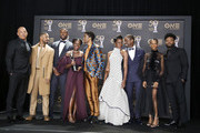 (L-R) Vin Diesel poses with Michael B. Jordan, Winston Duke, Lupita Nyong'o, Chadwick Boseman, Danai Gurira, Sterling K. Brown, Letitia Wright, and Ryan Coogler -- winner of Outstanding Directing in a Motion Picture (Film) --  winners of Outstanding Motion Picture and Outstanding Ensemble Cast in a Motion Picture for 'Black Panther', at the 50th NAACP Image Awards at Dolby Theatre on March 30, 2019 in Hollywood, California.