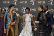 (L-R) Lupita Nyong'o, Chadwick Boseman, Michael B. Jordan, Danai Gurira, Letitia Wright and Sterling K. Brown -- winners of Outstanding Motion Picture and Outstanding Ensemble Cast in a Motion Picture for 'Black Panther', at the 50th NAACP Image Awards at Dolby Theatre on March 30, 2019 in Hollywood, California.