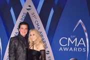 CEO of Big Machine Records Scott Borchetta and wife Sandi Spika Borchetta attend the 51st annual CMA Awards at the Bridgestone Arena on November 8, 2017 in Nashville, Tennessee.