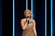 (FOR EDITORIAL USE ONLY) Singer Carrie Underwood speaks onstage during the 52nd annual CMA Awards at the Bridgestone Arena on November 14, 2018 in Nashville, Tennessee.