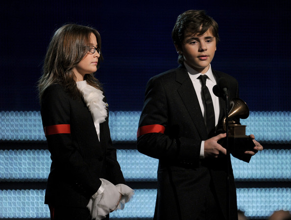Paris Jackson Paris Jackson (L) and Prince Michael Jackson accept the Lifetime Achievemen award for Michael Jackson onstage during the 52nd Annual GRAMMY Awards held at Staples Center on January 31, 2010 in Los Angeles, California.