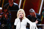 (FOR EDITORIAL USE ONLY) Dolly Parton performs onstage during the 53rd annual CMA Awards at the Bridgestone Arena on November 13, 2019 in Nashville, Tennessee.