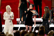 (FOR EDITORIAL USE ONLY) (L-R) Dolly Parton, Amanda Shires and Maren Morris of The Highwomen perform onstage during the 53rd annual CMA Awards at the Music City Center on November 13, 2019 in Nashville, Tennessee.