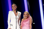 (FOR EDITORIAL USE ONLY) Jennifer Nettles and Kristin Chenoweth speak onstage during the 53rd annual CMA Awards at the Music City Center on November 13, 2019 in Nashville, Tennessee.