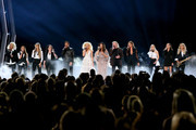 (FOR EDITORIAL USE ONLY) (L-R) Jennifer Wayne, Naomi Cooke and Hannah Mulholland of Runaway June, Ashley McBryde, Jimi Westbrook, Kimberly Schlapman, Karen Fairchild, Phillip Sweet of Little Big Town, Carly Pearce, Madison Marlow and Taylor Dye of Maddie & Tae and Lindsay Ell perform onstage during the 53rd annual CMA Awards at the Bridgestone Arena on November 13, 2019 in Nashville, Tennessee.